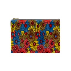 Background With Multi Color Floral Pattern Cosmetic Bag (medium)