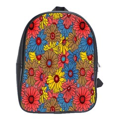 Background With Multi Color Floral Pattern School Bags(large)