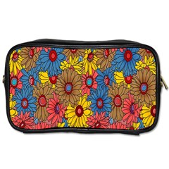 Background With Multi Color Floral Pattern Toiletries Bags