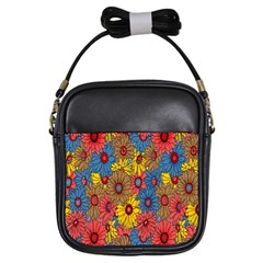 Background With Multi Color Floral Pattern Girls Sling Bags