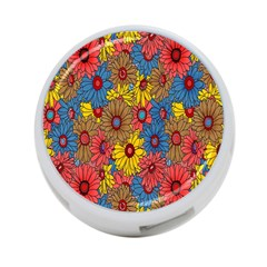 Background With Multi Color Floral Pattern 4 Port Usb Hub (one Side)