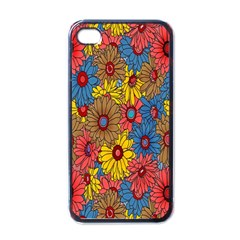 Background With Multi Color Floral Pattern Apple Iphone 4 Case (black)