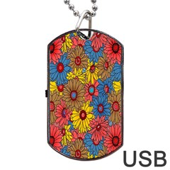 Background With Multi Color Floral Pattern Dog Tag Usb Flash (two Sides)
