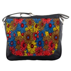 Background With Multi Color Floral Pattern Messenger Bags