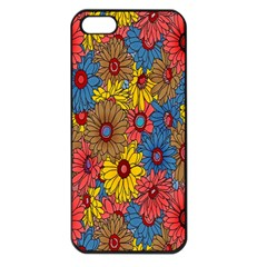 Background With Multi Color Floral Pattern Apple Iphone 5 Seamless Case (black)