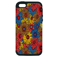 Background With Multi Color Floral Pattern Apple Iphone 5 Hardshell Case (pc+silicone)