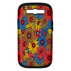 Background With Multi Color Floral Pattern Samsung Galaxy S Iii Hardshell Case (pc+silicone)