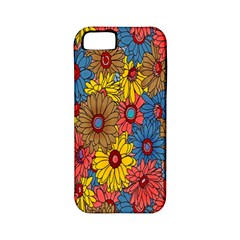 Background With Multi Color Floral Pattern Apple Iphone 5 Classic Hardshell Case (pc+silicone)