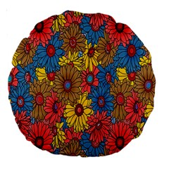 Background With Multi Color Floral Pattern Large 18  Premium Round Cushions
