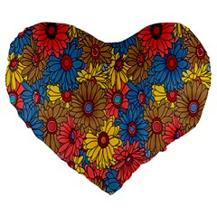 Background With Multi Color Floral Pattern Large 19  Premium Heart Shape Cushions