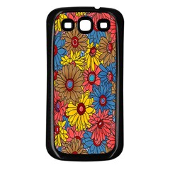 Background With Multi Color Floral Pattern Samsung Galaxy S3 Back Case (black)