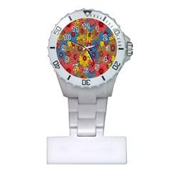 Background With Multi Color Floral Pattern Plastic Nurses Watch