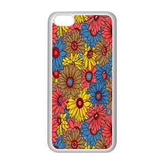 Background With Multi Color Floral Pattern Apple Iphone 5c Seamless Case (white)