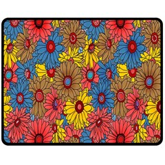 Background With Multi Color Floral Pattern Double Sided Fleece Blanket (medium)