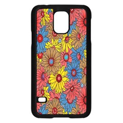 Background With Multi Color Floral Pattern Samsung Galaxy S5 Case (black)