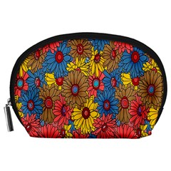 Background With Multi Color Floral Pattern Accessory Pouches (large)