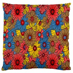 Background With Multi Color Floral Pattern Large Flano Cushion Case (two Sides)