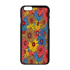 Background With Multi Color Floral Pattern Apple Iphone 6/6s Black Enamel Case