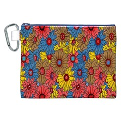 Background With Multi Color Floral Pattern Canvas Cosmetic Bag (xxl)