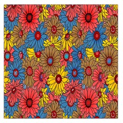 Background With Multi Color Floral Pattern Large Satin Scarf (square)