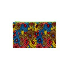 Background With Multi Color Floral Pattern Cosmetic Bag (xs)