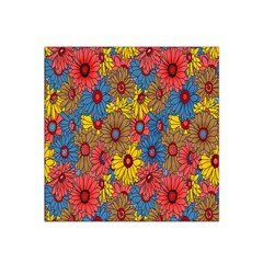 Background With Multi Color Floral Pattern Satin Bandana Scarf