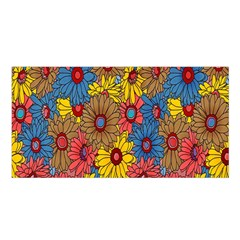 Background With Multi Color Floral Pattern Satin Shawl
