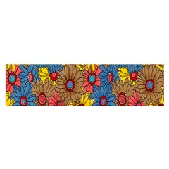 Background With Multi Color Floral Pattern Satin Scarf (oblong)