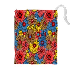 Background With Multi Color Floral Pattern Drawstring Pouches (extra Large)