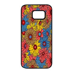 Background With Multi Color Floral Pattern Samsung Galaxy S7 Edge Black Seamless Case