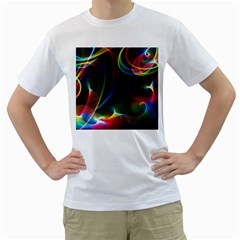 Abstract Rainbow Twirls Men s T Shirt (white) (two Sided)