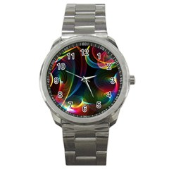 Abstract Rainbow Twirls Sport Metal Watch
