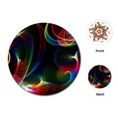Abstract Rainbow Twirls Playing Cards (round)