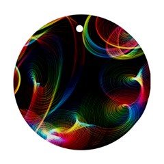 Abstract Rainbow Twirls Round Ornament (two Sides)