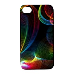 Abstract Rainbow Twirls Apple Iphone 4/4s Hardshell Case With Stand