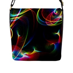 Abstract Rainbow Twirls Flap Messenger Bag (l)