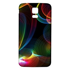 Abstract Rainbow Twirls Samsung Galaxy S5 Back Case (white)
