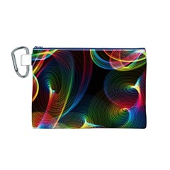 Abstract Rainbow Twirls Canvas Cosmetic Bag (m)