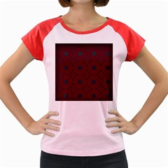 Blue Hot Pink Pattern With Woody Circles Women s Cap Sleeve T Shirt