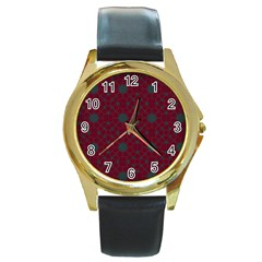 Blue Hot Pink Pattern With Woody Circles Round Gold Metal Watch