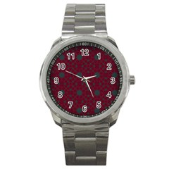 Blue Hot Pink Pattern With Woody Circles Sport Metal Watch