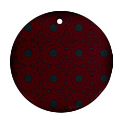 Blue Hot Pink Pattern With Woody Circles Round Ornament (two Sides)