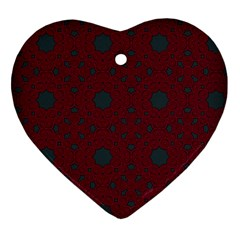 Blue Hot Pink Pattern With Woody Circles Heart Ornament (two Sides)