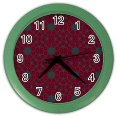 Blue Hot Pink Pattern With Woody Circles Color Wall Clocks