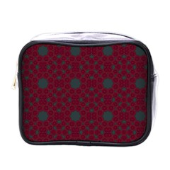 Blue Hot Pink Pattern With Woody Circles Mini Toiletries Bags