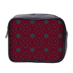 Blue Hot Pink Pattern With Woody Circles Mini Toiletries Bag 2 Side