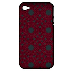 Blue Hot Pink Pattern With Woody Circles Apple Iphone 4/4s Hardshell Case (pc+silicone)