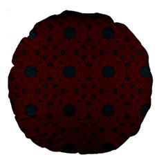 Blue Hot Pink Pattern With Woody Circles Large 18  Premium Round Cushions