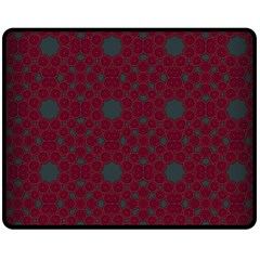 Blue Hot Pink Pattern With Woody Circles Double Sided Fleece Blanket (medium)