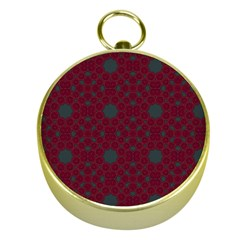 Blue Hot Pink Pattern With Woody Circles Gold Compasses